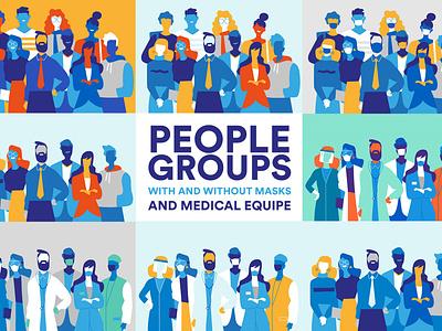 People Groups pop art pandemic vectorart illustration nurse doctors medical equipe startup staff teamwork team people illustration crowd society people