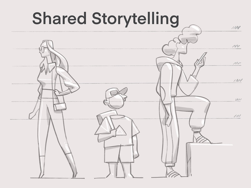 Shared Storytelling sketch storytelling character design story characters creative drawing style society lifestyle illustration hurca