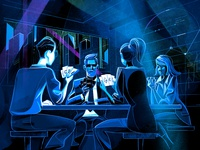 Poker Faces sketch drawing illustration strategy match game bluff poker face fintech finance cryptocurrency crypto cards poker