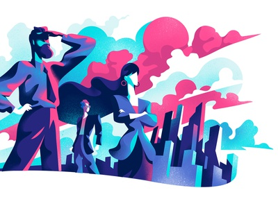 Leader Company challenge visionary hero illustration leadership company innovation manager vision leader