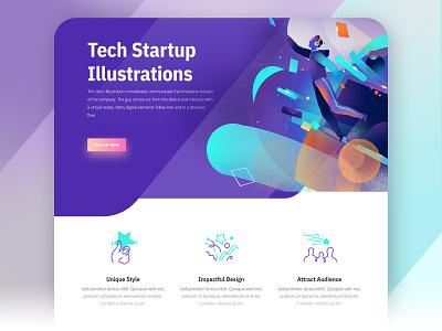 Tech Startup Design digital startup tech design tech company symbols icons user experience web design branding cool ui design illustration