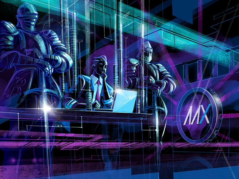 Over-The-Counter Trading cyber security protection future neon illustration crypto exchange fintech dark blog illustration finance trading