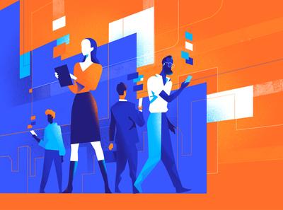 Interactive Society interaction digital era digital society people illustration sharing virtual society network digital addiction illustration society people