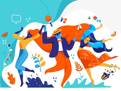 Dancing Party dancers lifestyle summertime festival fest funny music dance drawing style society people illustration