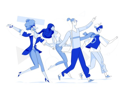 Young Time cool style streamline illustration lifestyle teenagers youth people meeting meet happiness happy society group friendship together community friends guys