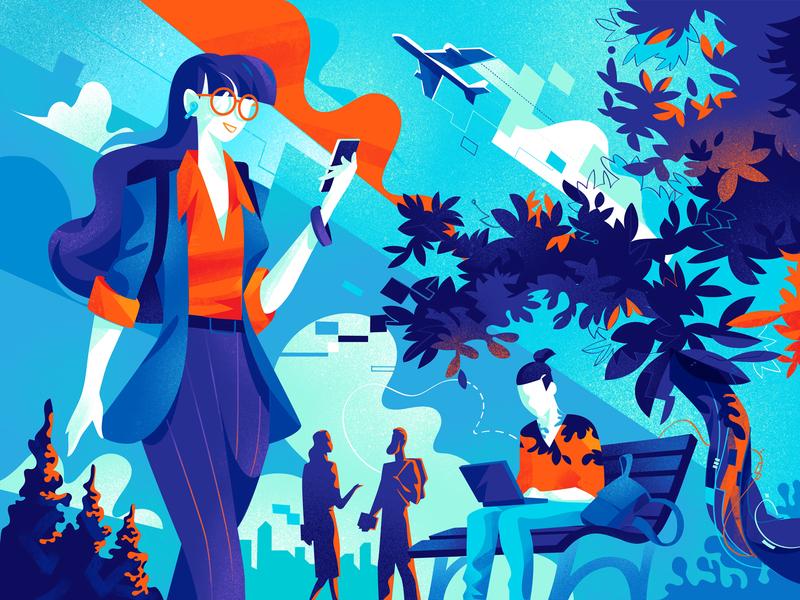 Safe Digital Lifestyle technology remote working smart working outdoor lifestyle digitallife security society style illustration