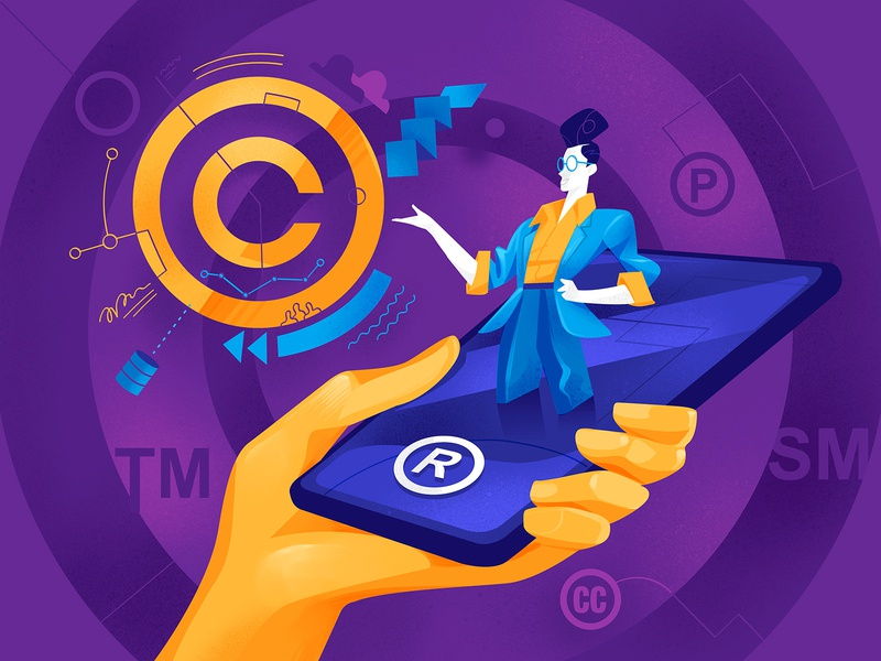Intellectual Property trademark startup app patented registered creative commons copyrights property copyright phone illustration