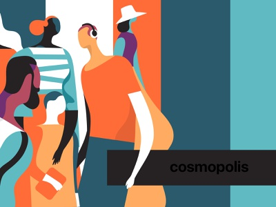 Cosmopolis community characters popart colors pastel hurca style society lifestyle people illustration