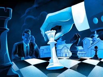 Real Estate Gambit gambit queen drawing hero illustration hurca chessboard chess piece challenge match game board horse tower king winner real estate master chess illustration