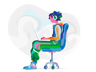 Hikikomori illustration room virtual life teenager laptop full immersion addicted alone
