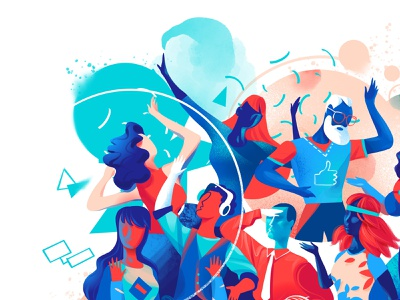 Best Company Detail 2 characters design look style millenials society people lifestyle illustration party movida creativity cool community characters