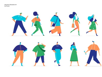 Groucho Characters lessismore vector art character design personas users profile lifestyle personality dress code look style perons women men community society people characters