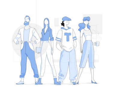Top Team society people colleagues startup talents human resources professionals characters character design vectorart streamline style look cool