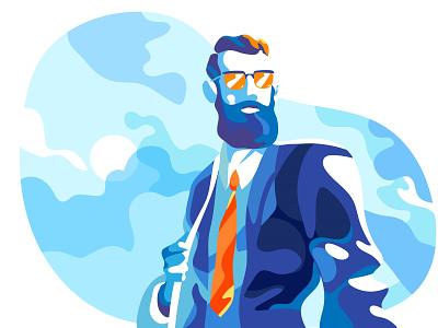 A Big Deal 2 brave startup hipster cool lifestyle illustration challenge visionary entrepreneur visoin market deal businessman leader