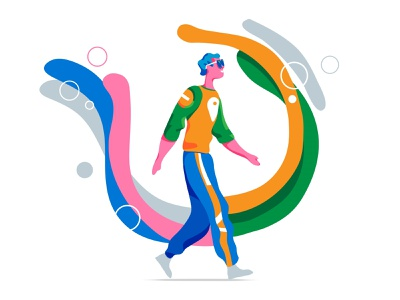 The Right Mood cool illustration motivation. aura young mood inspiration magic tasks imagination boy walking creativity lifestyle
