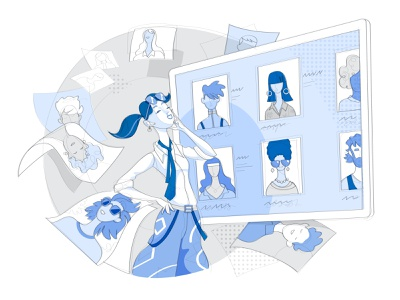 Talent Scouting people research database selection talent scouting candidates profile streamline illustration