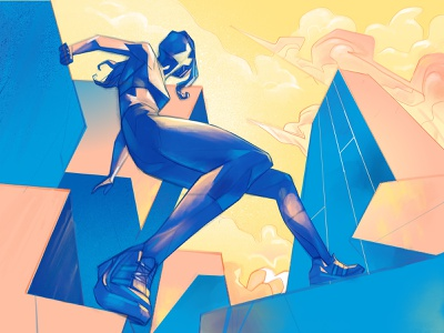 Concrete Jungle athlete cool procreate perspective city parkour urban girl design style lifestyle illustration