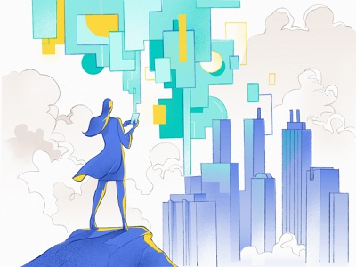 Big Data Manager security check city skyline illustration procreate management analysis flow app mobile big data