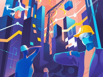 Lessons Learned and Predictions illustration society iot technology skyline city future manufacturing drones constructions industry