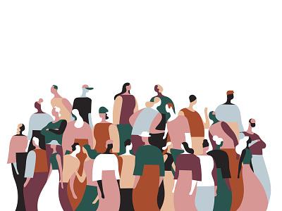 Folks Flow V1 society meeting talking relationships illustration crowd users pattern community people folks