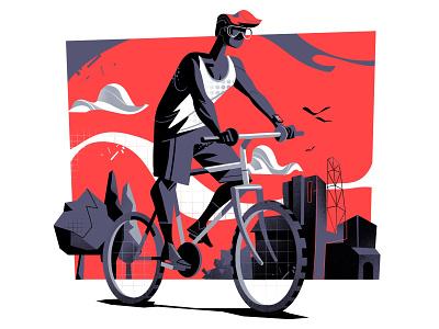Free Biker illustration cool track path sport free style mountain bike biker