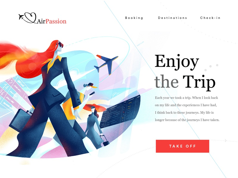 Air Passion Landing Page check-in passengers passion customer journey journey travel airport take off flying trip