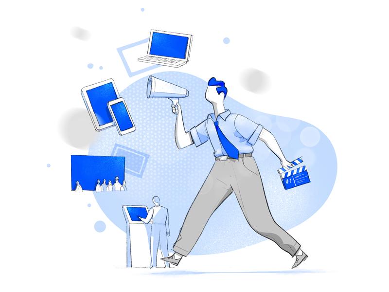 Multichannel Director vision sync director symbols tablet smartphone devices multichannel