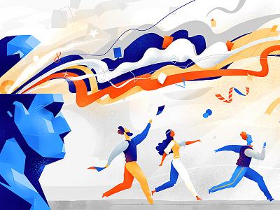 Idea Catchers running imagination mind flow inspiration creativity idea