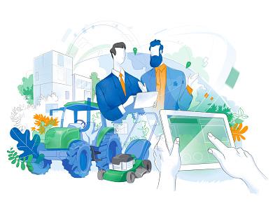 Farming 4.0 hurca vector artwork illustrator iot gardening integration connection tool tractor farm agriculture