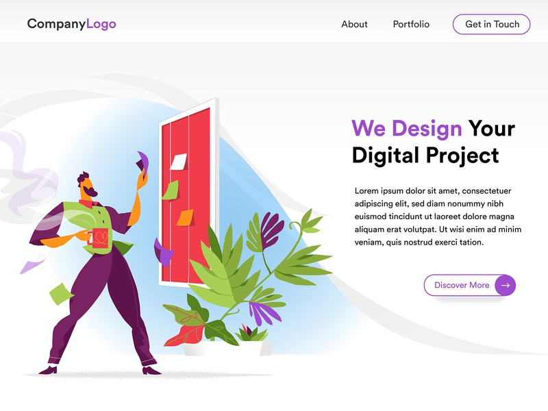 Digital Startup Project Planning - Homepage theme design vector artwork scrum board planning startup template landing page homepage