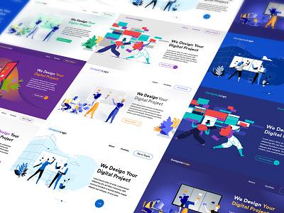 Digital Startup Homepage Templates bundle hurca vector art illustrations mockup templates web design design startup homepage
