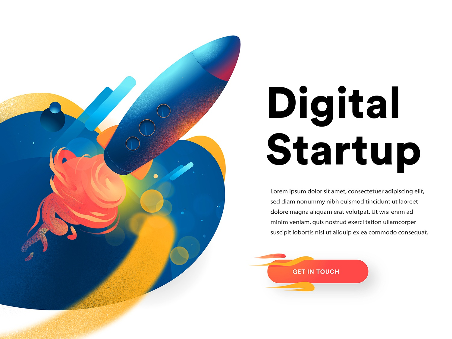 Digital Startup Launched wow hurca homepage hero image landing page startup boost mission rocket launch