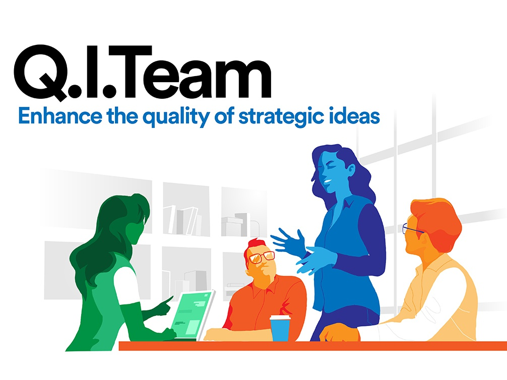 Q.I. Team wow hurca innovation startup strategy ideas team group teamwork brainstorming