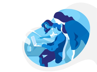 Project Teamwork - Blue Palette hurca office colleagues together startup team building teamwork team