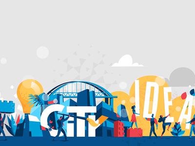 Our Future City pop art hurca wow skyline construction bricks lego vectorart art life community people creativity dowtown innovation idea lifestyle city