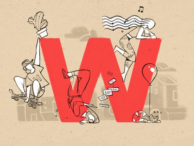 W for Weird Guys hurca sketch drawing enjoy cat lifestyle alphabet w strange people young fun weird