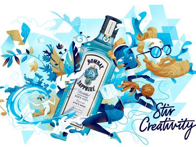 Stir Creativity hurca bombay sapphire bottle explosion liquid mood music surf selfie hipster lifestyle fresh drink liquor bombay