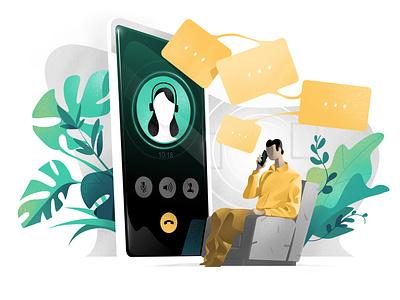 Talk/Listen | Hero for Landing Page chat hurca interview comfort living room call conference call app store service desk customer support talk nobile app app phone listener