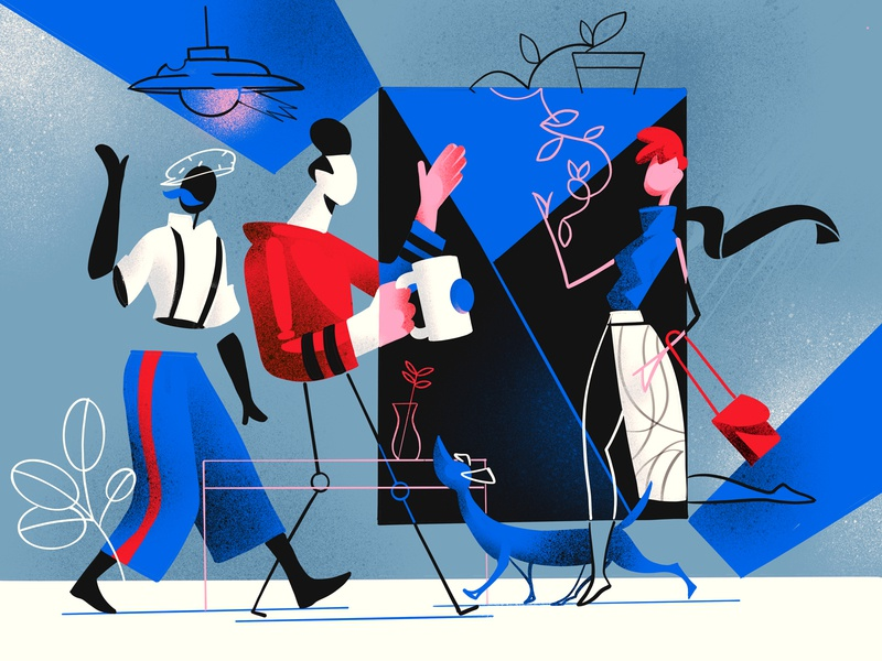 Something is Changing illustration wow creative cool charactersdesign hurca friends meeting society people lifestyle style futurism cubism abstract characters