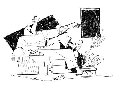 Netflix illustration draw hurca sitting room home drama relax sofa fiction series tv remote
