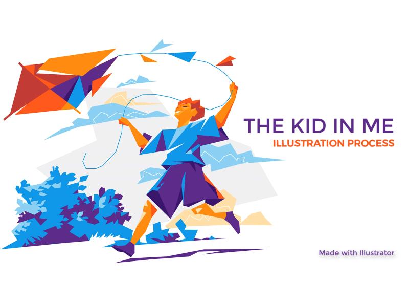 The Kid in Me vectorart illustration hurca wind play joy run freedom kid children childhood