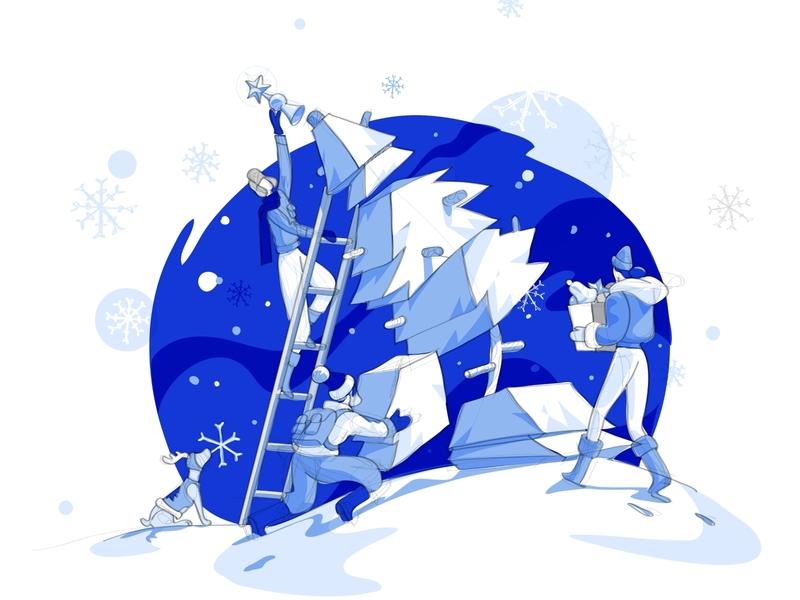 Shaft Assembly hurca illustration dog santa holiday cooperation cold tree teamwork assembly christmas xmas card xmas