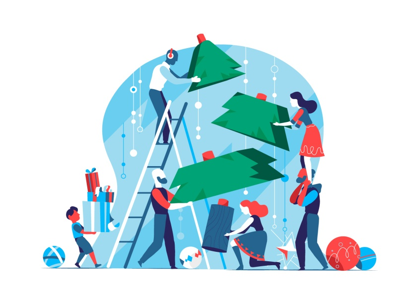 Christmas Construction Team wow vectir illustration hurca family gifts build teamwork together celebrations christmas party christmas tree christmas xmas