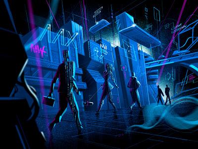 Distopic Tomorrow neon future city society distopic future matrix illustration process illustration procreate tomorrow future science fiction