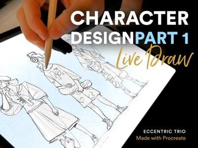 Eccentric Trio | Character Design Part 1 sketch drawing french bulldog skater brushes style people characters illustration process video process live draw character design