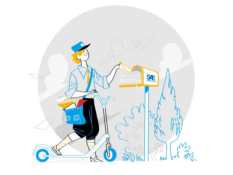 Contact Us Illustration fun monello vector art illustration delivery mailbox mailing mail scooter getting in touch contact us