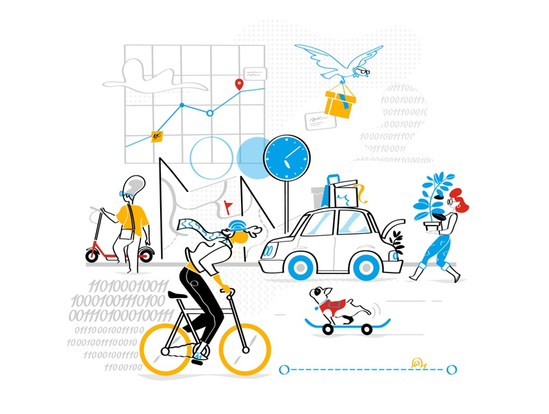 SAE International Hero user experience big data people lifestyle creative society hurca monello vector draw illustration time scooter dog skater car sharing mobility bike