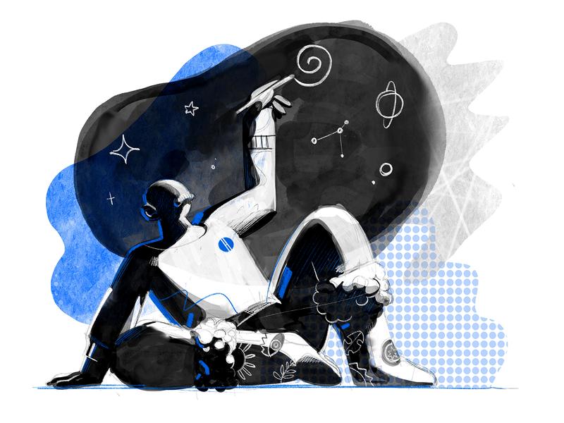 Night Watcher hurca minimal pattern textures sketch illustrator drawer drawing cosmos night creative illustration watercolor