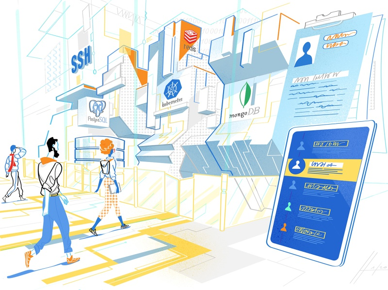 Framework Login flat design flat illustration vector art monello illustration hurca big data technology engineers code access checkpoint network developers mobile app tool software house software