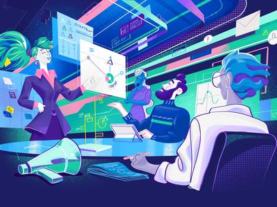 Cyber Response startup people hurca stats meeting room meeting information presentation agency teamwork illustration design big data illustration